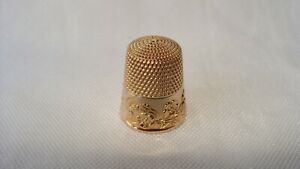 Vintage 10k Yellow Gold Sewing Thimble Size 11 Floral Pattern 6 4 Grams