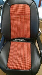 1969 Sport Camaro Coupe Black Red Deluxe Houndstooth Seat Upholstery Set