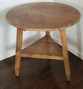Antique Country English Pine Cricket Table Primitive 19th Century