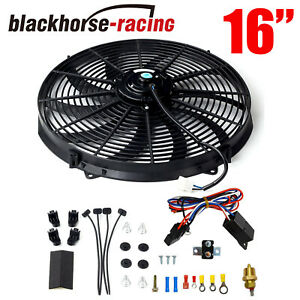 16 black Electric Radiator Fan High 1000 Cfm Thermostat Wiring Switch Relay Kit