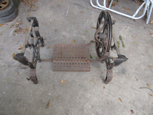 Antique 1880 White Iron Treadle Base Legs Industrial Salvage Table Legs Usa