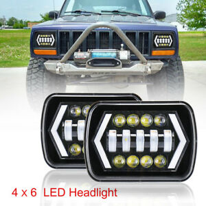Pair 5x7 Cree Led White Headlight Hi lo Drl Turn Signal Light For Jeep Cherokee