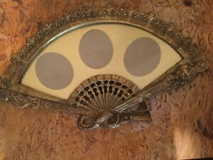 Vintage Ornate Heavy Brass Fan Shaped Picture Frame Holds 3 Photos