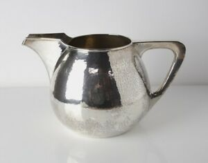 Tc Shop Chicago Arts And Crafts Hand Hammered Sterling Silver Pitcher C1920