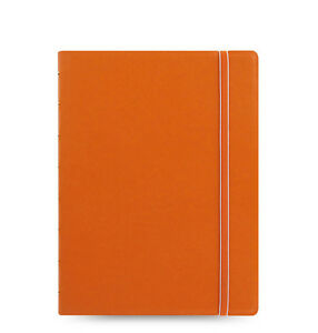 Filofax A5 Refillable Leather look Ruled Notebook Diary Book Orange 115010