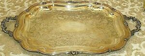 Vtg Melon Sheffield Silver Plated 32 Heavy Serving Tray Platter Floral Handles