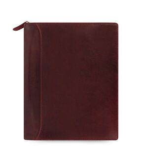 Filofax A5 Size Lockwood Zip Organiser Diary Book Garnet Red Leather 021691