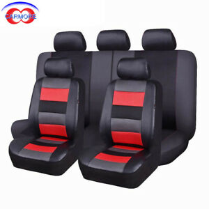 11 Pcs Universal Seat Covers Set Red Faux Leather Mesh Polyester Breathable