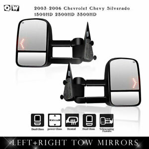 For 03 06 Chevrolet Chevy Silverado 1500hd 2500hd 3500hd Power Heated Tow Mirror