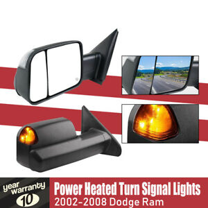 Tow Mirror For 02 04 05 06 07 08 Dodge Ram 1500 2500 3500 Heated flip Up signal