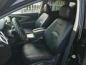2 Front Car Seat Covers Black Leatherette Compatible To Toyota f15301