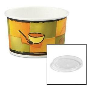 Chinet Streetside Paper Food Container W plastic Lid Streetside Design 8 10oz