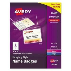 Avery Necklace style Badge Holder W laser inkjet Insert Top Load 4 X 3 We 10