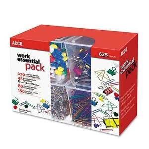 Acco 350 Paper Clips 150 Push Pins 80 Butterfly Clips 45 Binder Clips Assor