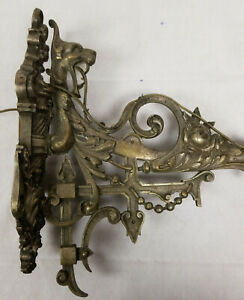 Antique Finely Cast Silvered Bronze Candle Holder Sconce Spanish Signed Cherub