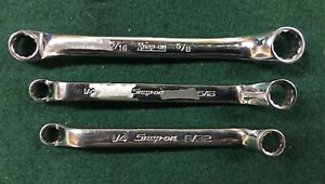 Snap On 12 Point Sae Flank Drive Short 10 Offset Box Wrench 3pcs Usa