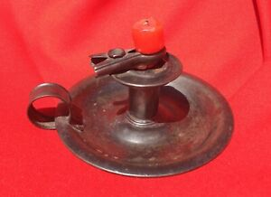 Antique Primitive Black Tin Candlestick With Saucer And Unusual Candle Holder