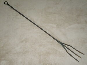 Primitive Large 48 Wrought Iron Trident Fork Poker Hearth Fireplace Tool