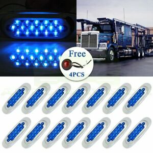 14x Fast Ship Universal Blue Car 12v Side Marker Lights 4x Free Red Lamps