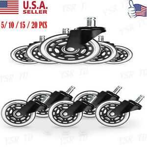 5 20pcs Office Chair Caster Rubber Swivel Wheels Replacement Heavy Duty 3 Inch