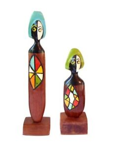 Rare Pair Mid Century Abstract Wood Sculpture Art Carved Painted Totem Figures