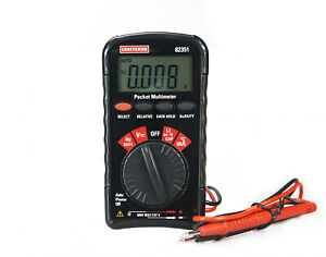 Craftsman Pocket Multimeter Attached Test Leads Carry Pouch Auto Ranging Tool