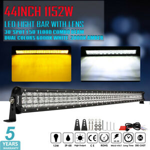 44inch Led Work Light Bar Spot Flood Amber White Strobe Driving Lamps wiring Kit