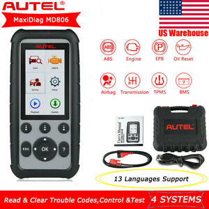 Autel Maxidiag Md806 4 System Scanner Obdii Diagnostic Tool Oil Bms Engine Md808