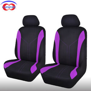 2 Front Purple Universal Seat Covers Set Polyester Mesh Breathable Washable
