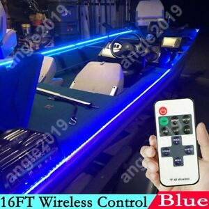 16ft Blue Wireless Control Waterproof Led Strip Light For Boat Truck Car Suv Rv