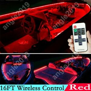 16ft Red Wireless Control Waterproof Led Strip Light For Boat Truck Car Suv Rv