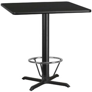 42 Square Black Laminate Table Top With 33 X 33 Bar Height Table Base And