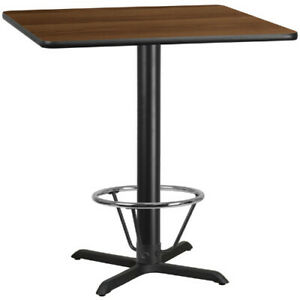 42 Square Walnut Laminate Table Top With 33 X 33 Bar Height Table Base And
