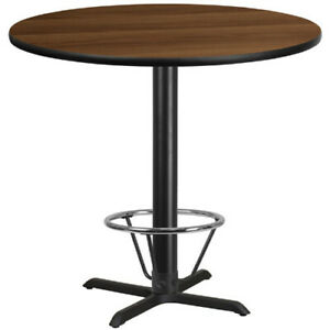 42 Round Walnut Laminate Table Top With 33 X 33 Bar Height Table Base And