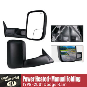 Ram Towing Mirrors Power Heated Fit 1998 99 00 2001 Dodge Ram 1500 2500 3500