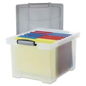 Storex Portable File Tote W locking Handle Storage Box Letter legal Clear