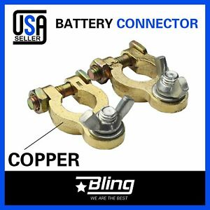 2pcs Car Auto Battery Terminal Copper Wing Nut Clamp Quick Connect Top Post