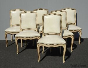 Vintage French Provincial Off White Leather Dining Room Chairs By Thomasville