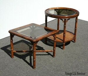 Vintage Chinese Chippendale Oak Wood Faux Bamboo Cane End Tables