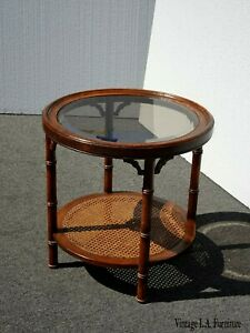 Vintage Chinese Chippendale Oak Wood Faux Bamboo Cane Round End Table