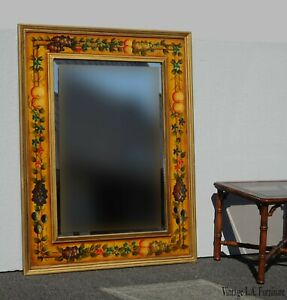 Vintage French Country Wall Mantle Mirror W A Bold Yellow Floral