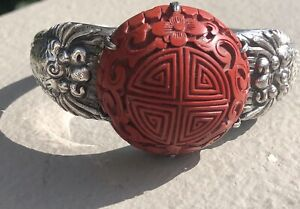 Antique Quing Dynasty Sterling Silver Cinnabar Siukee Chinese C1900 Bracelet