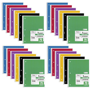 Mead Spiral Notebook Wide Ruled 1 Subject 70 Sheets 24 Pack