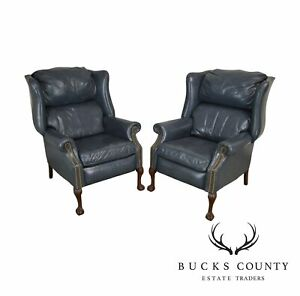 Chippendale Style Blue Leather Pair Recliners Wing Chairs