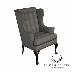 Hickory Chair Co Grey Tufted Leather Mahogany Queen Anne Wing Chair