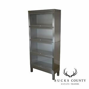 1960 S Mid Century Industrial Steel 4 Stack Barrister Bookcase