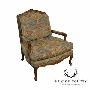 French Louis Xv Style Wide Seat Bergere Lounge Chair By Century