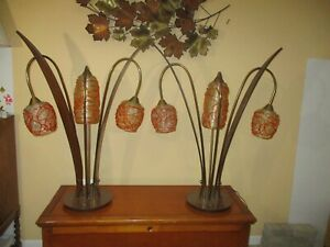 Mcm Lucite Spaghetti 3 Way Lamps One Pair Gorgeous