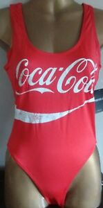 COCA-COLA ONE-PIECE STRETCH SWIMSUIT RED/WHITE MEDIUM BNWT