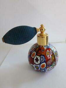 Rare Old Beautiful Italian Murano Art Glass Perfume Bottle With Atomizer